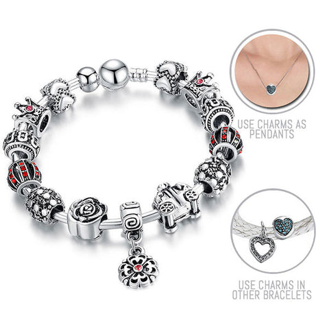 On the Way to a Ball: Silver Pandora Style Bracelet Bangle Combo Set with 14 Charms