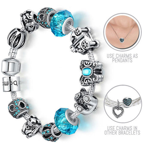 Once Upon A Time: Silver Pandora Style Bracelet Combo Set with 12 Charms