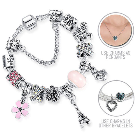 Paris Belongs to Us: Silver Pandora Style Bracelet Combo Set with 13 Charms