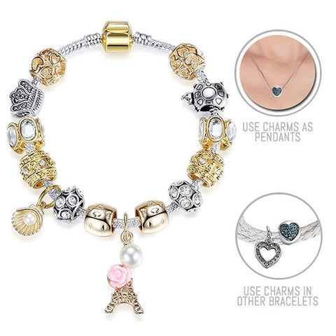 Paris Paris: Silver and Golden Pandora Style Bracelet Combo Set with 14 Charms