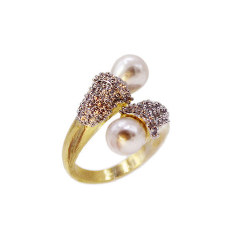 Pearls Golden Bow Ring with American Diamonds