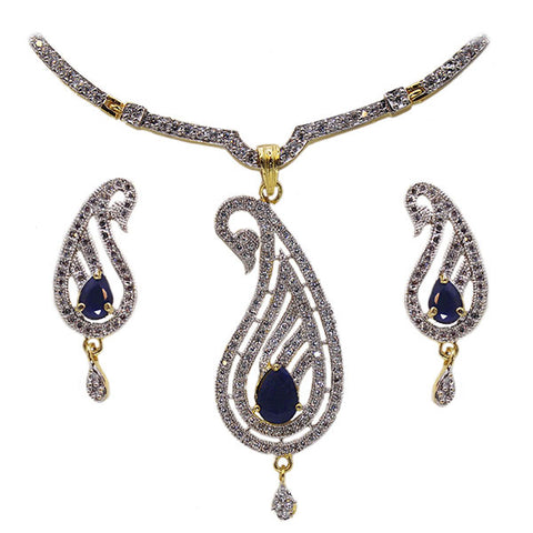 Pendant and Earrings Set: Sapphire Diamond Peacock Feather