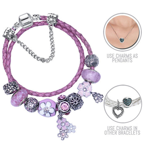 Pink Lilacs: Pink Pandora Style Leather Bracelet Combo Set with 12 Charms
