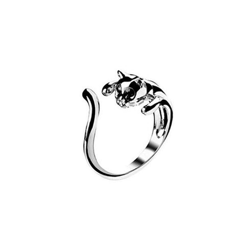 Playful Cat On the Prowl: Silver Ring