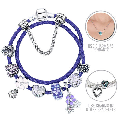 Purple Lilacs: Purple Pandora Style Leather Bracelet Combo Set with 10 Charms