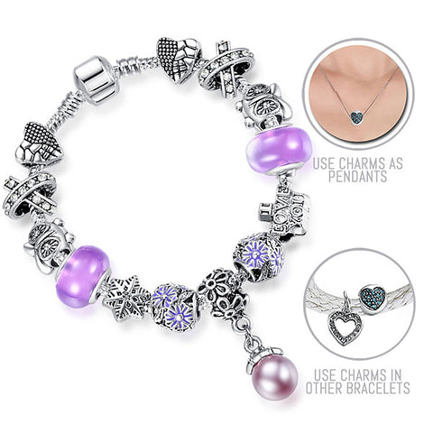 Purple Rain: Silver Pandora Style Bracelet Combo Set with 13 Charms