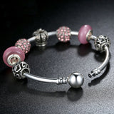 Bubble Gum Queen: Silver Pandora Style Bracelet Bangle Combo Set with 7 Charms