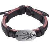 Rasta Brown Weed Leaf Genuine Leather Bracelet