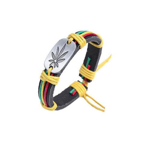 Rasta Colors Weed Leaf Genuine Leather Bracelet