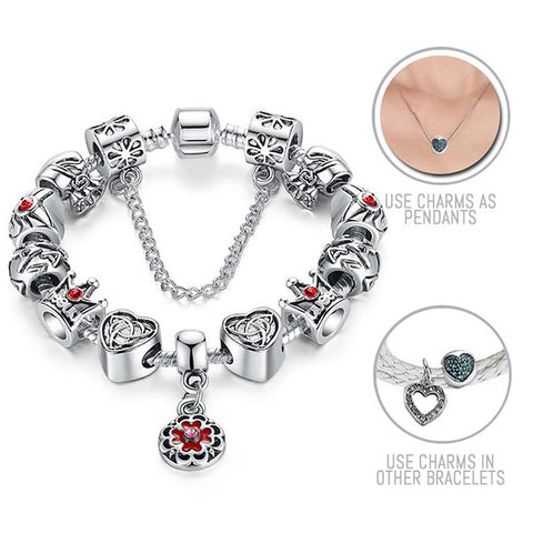 Red Queen Royale: Silver Pandora Style Bracelet Combo Set with 13 Charms