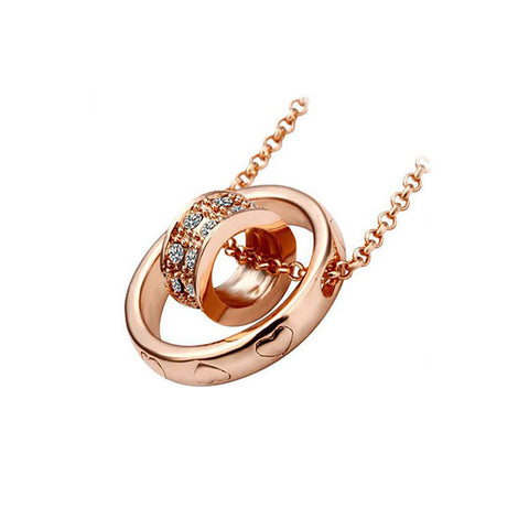Rose Gold Ring within Ring Pendant Necklace