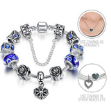 Roses are Blue: Silver Pandora Style Bracelet Combo Set with 11 Charms