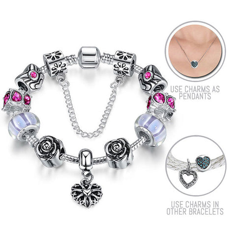Roses are Purple: Silver Pandora Style Bracelet Combo Set with 11 Charms