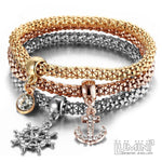 Set of 3 Bracelets Tricolor with Anchor Sail Charm Pendants
