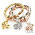 Set of 3 Bracelets Tricolor with Lace Butterfly Charm Pendants
