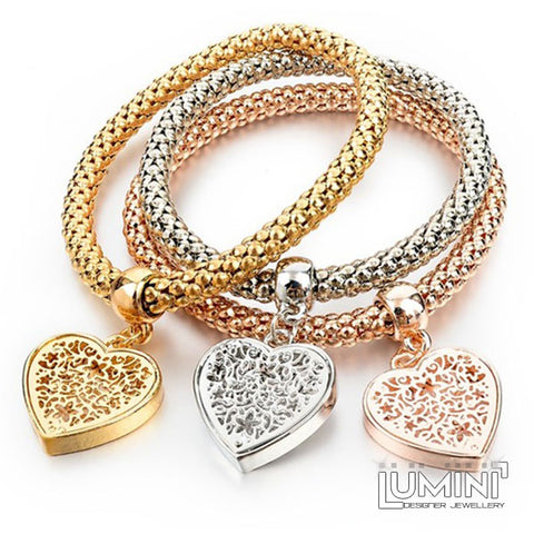 Set of 3 Bracelets Tricolor with Lace Heart Charm Pendants