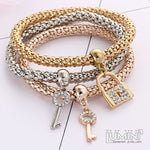 Set of 3 Bracelets Tricolor with Studded Lock and Keys Charm Pendants