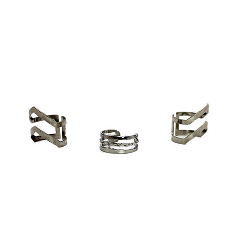 Set of 3 Phalange Rings: Silver Zig Zag