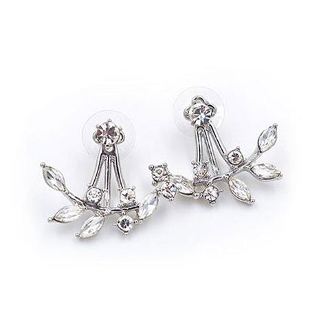 Set of Earrings: Silver American Diamond Leaves