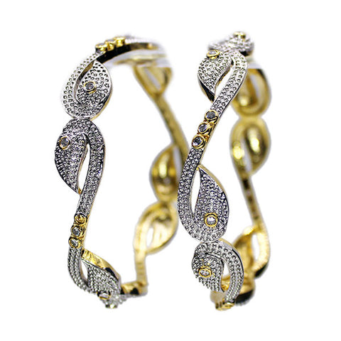 Set of Two Golden Bangles: The Graceful Swans