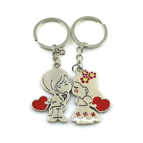 Set of Two Keychains: Girl and Boy Kissing