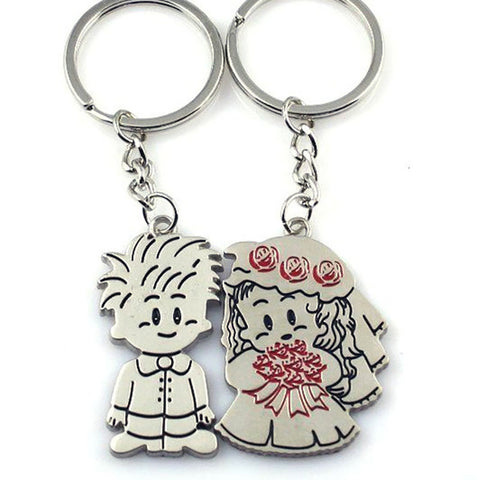 Set of Two Keychains: Just Married Girl and Boy