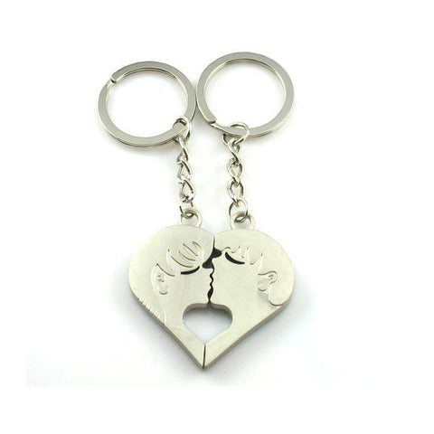 Set of Two Keychains: Kissing Heart Halves