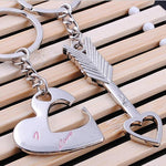 Set of Two Keychains: Matching Silver Heart and Arrow