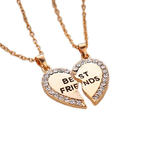 Set of Two Pendants: Best Friends Gold Studded Two Heart Halves