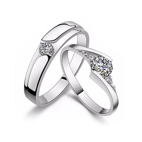 Set of Two Silver Rings: Diamond Solitaire