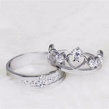 Set of Two Silver Rings: Encrusted Crown