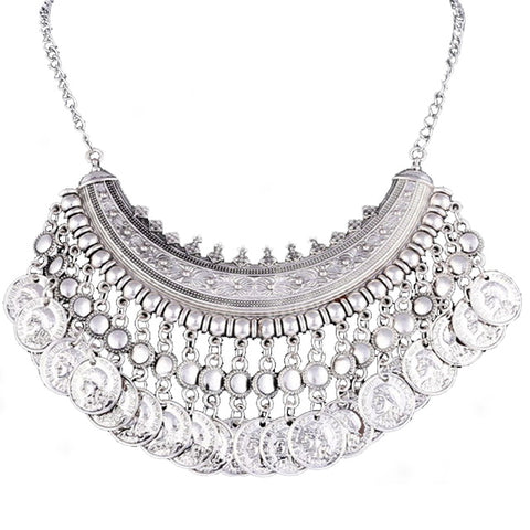 Silver Bohemian Style Statement Bib Necklace