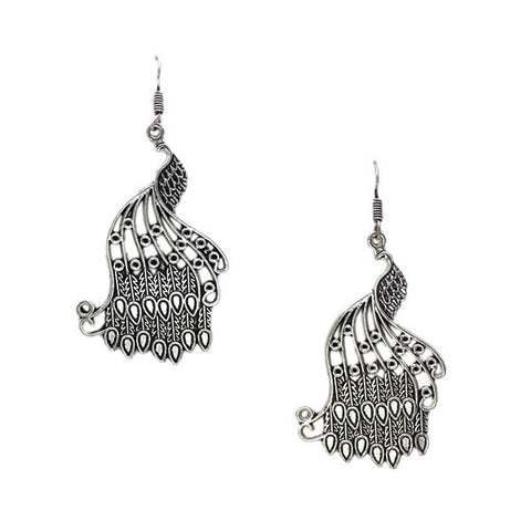 Silver Peacocks Drop Earrings