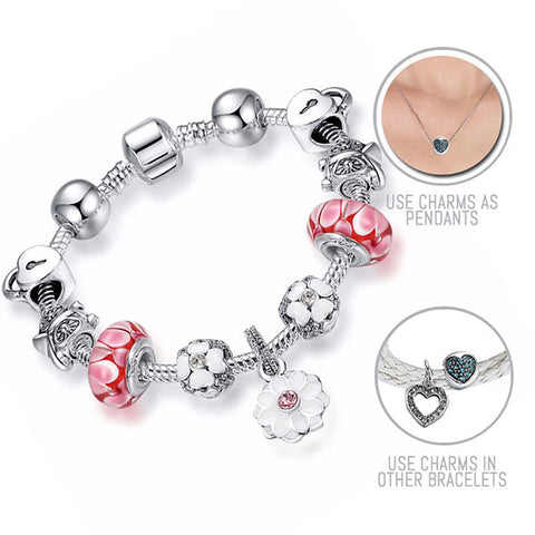Snow White: Silver Pandora Style Bracelet Combo Set with 11 Charms