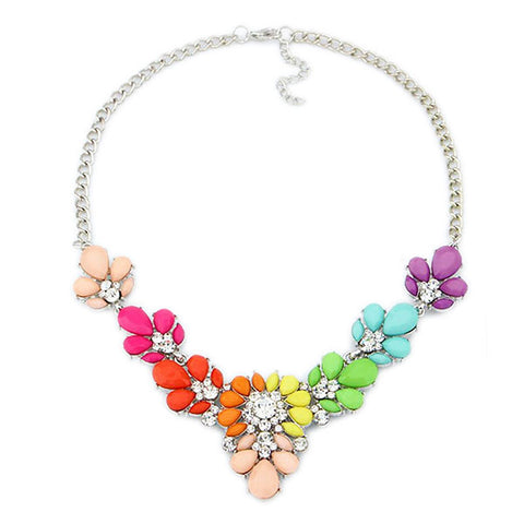 Sparkling Crystal Flower Choker Statement Necklace
