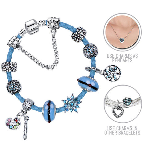 Starry Skies: Blue Pandora Style Leather Bracelet Combo Set with 11 Charms