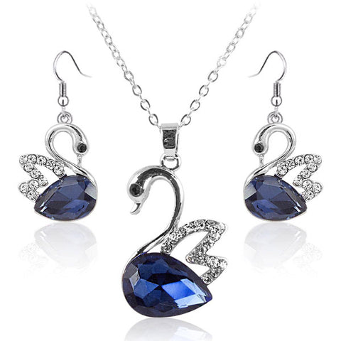 Swan Dark Blue Crystal Pendant and Earrings Set