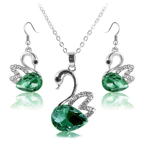 Lumini Swan Green Crystal Pendant and Earrings Set