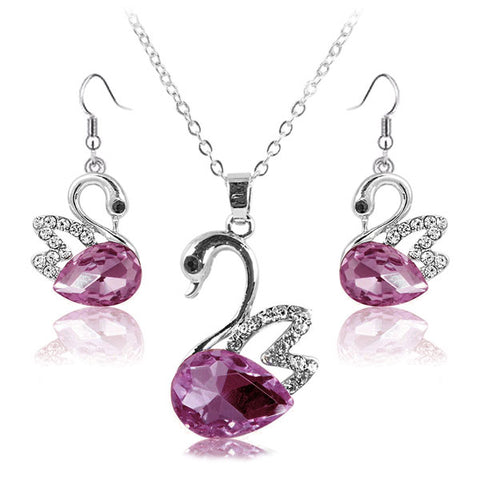Lumini Swan Purple Crystal Pendant and Earrings Set