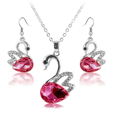 Lumini Swan Red Crystal Pendant and Earrings Set