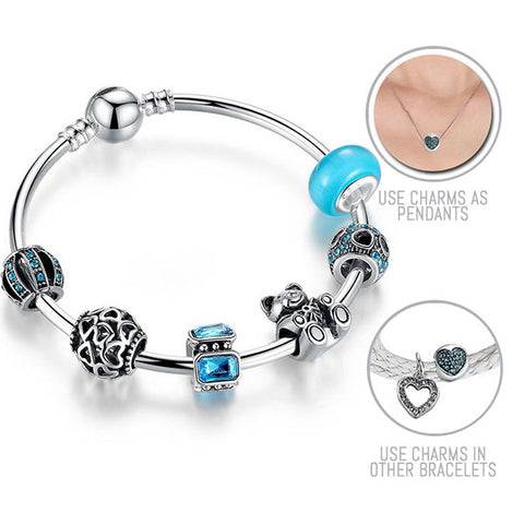 Teddy is always with me: Silver Pandora Style Bracelet Bangle Combo Set with 6 Charms