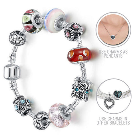 The Secret Garden: Silver Pandora Style Bracelet Combo Set with 9 Charms