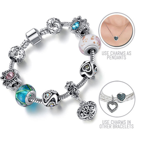 Through The Looking Glass: Silver Pandora Style Bracelet Combo Set with 9 Charms