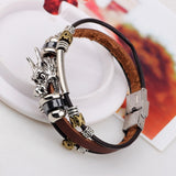 Tibetan Silver Dragon Genuine Leather Bracelet