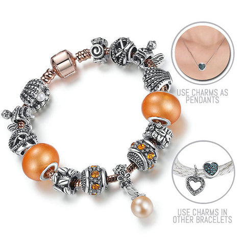 Under The Sea: Silver & Rose Gold Pandora Style Bracelet Combo Set with 14 Charms