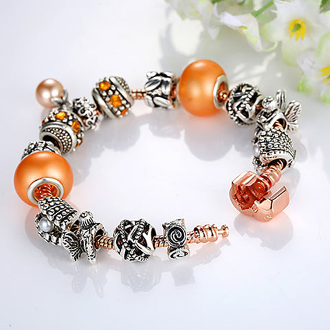 24b141a2f Under The Sea: Silver & Rose Gold Pandora Style Bracelet Combo Set with 14  Charms