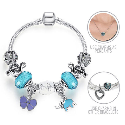 We are the World: Silver Pandora Style Bracelet Combo Set with 9 Charms