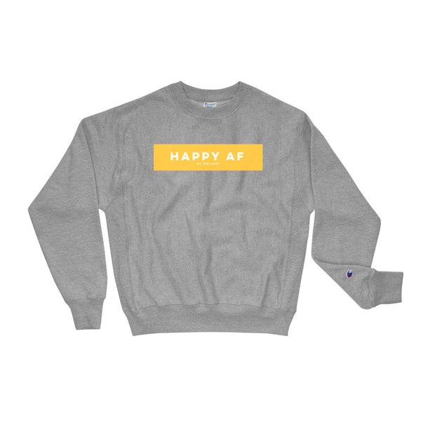 Unisex Happy AF Champion Sweatshirt Oxford Grey