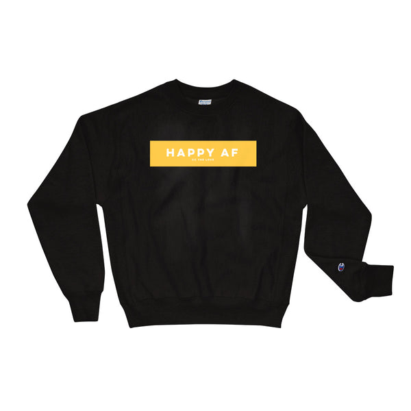 Unisex Happy AF Champion Sweatshirt Black