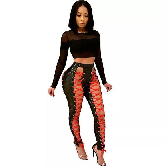 Demi Patent Lace Up Pants
